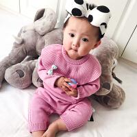 婴儿0岁3个月6儿童睡衣冬季男童女童毛衣打底衫宝宝针织秋冬加厚