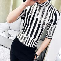 中短袖衬衫男韩版潮流修身条纹男士衬衣青年休闲薄款七分袖寸衫男