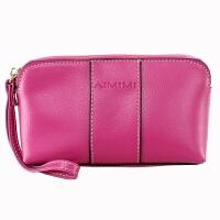 女式复古牛皮零钱包大容量皮手包拉链包女士手机包手拿包小包包