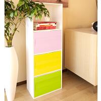 慧乐家四层三门彩色收纳柜储物柜杂物整理柜 简易时尚收纳柜12185