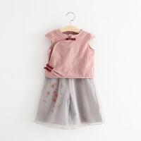2018新款套装宝宝民族风衣服儿童短袖上衣两件套1-3-5岁女童夏装
