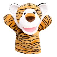 毛绒老虎手偶娃娃动幼儿园互动动物手套嘴巴能动动物腹语手偶玩具