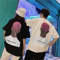 情侣短袖T恤韩版棉夏新款嘻哈人物印花半袖宽松短袖T恤男潮