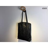 日式简约大包包女软皮托特包大容量褶皱植鞣羊皮妈咪包单肩包 褶皱黑