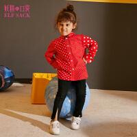 【2件3折到手价:73】妖精的口袋波点绯闻Ⅱ冬装新款童装亲子装娃娃领拼接衬衫