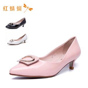 红蜻蜓女鞋尖头搭扣装饰低跟细跟甜美女单鞋