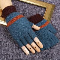 保暖加厚写字半截手套男露指打字学生半指毛线手套男冬季
