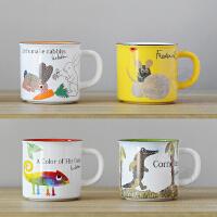 日本进口 Lionni 美浓烧陶瓷可爱卡彩色通印花马克杯水杯子咖啡杯