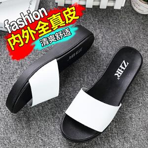 ZHR2018夏季新品真皮拖鞋女韩版平底凉拖鞋学生平跟一字拖女鞋潮室外鞋M105