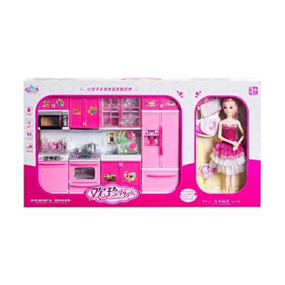 芭比娃娃套装儿童过家家厨房玩具女孩公主做饭仿真厨具餐具生日女