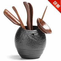 思故轩 功夫茶具配件套装整套黑檀实木陶瓷零配组合 茶道六君子CJP6681