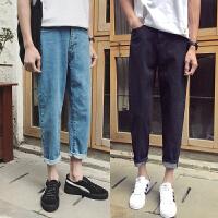 新款韩版修身牛仔裤男士纯黑色哈伦九分裤学生小脚长裤潮