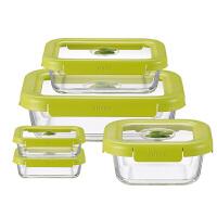 苏泊尔supor 耐热玻璃保鲜盒鲜呼吸负压保鲜盒微波炉饭盒五件套TK1725E