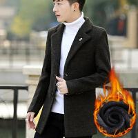 风衣男冬季韩版男士大衣中长款修身商务休闲男装加绒加厚毛呢外套