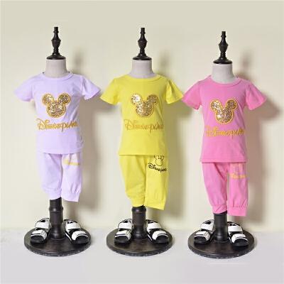2018年夏装新款女童运动休闲T恤短裤套装T721 发货周期:一般在付款后2-90天左右发货,具体发货时间请以与客服协商的时间为准