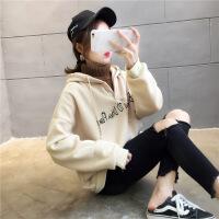 卫衣 女士加绒加厚假两件连帽卫衣2020春秋新款女式韩版宽松长袖外套