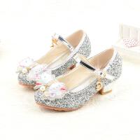 女童皮鞋高跟公主鞋春秋新款韩版舞蹈鞋小女孩水晶儿童单鞋银