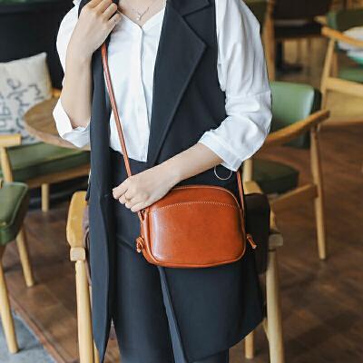 【1件2折:47.84】doodoo包包女新款复古油蜡皮包包经典贝壳包小包包女包斜挎包单肩 支持使用*支付