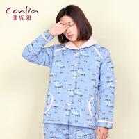 康妮雅冬季新款家居服套装 女 甜美可爱长袖开衫夹棉睡衣
