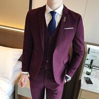 韩版青年修身西服套装时尚简约商务男士西装马甲西裤三件套档男