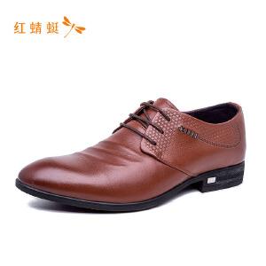 【专柜正品】红蜻蜓圆头系带装饰低跟舒适男单鞋