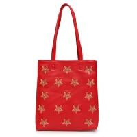 新款简约学生手提包单肩包购物袋女包刺绣包休闲大包包托特包 红色