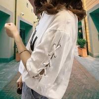 短袖t恤女宽松体恤女字母印花个性绑带半袖上衣服夏季韩版潮学生