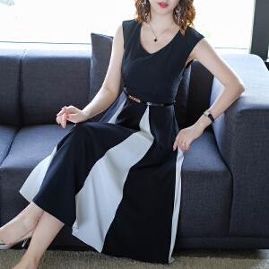 RANJU然聚 2018夏季女装新品新款时尚黑白拼接圆领显瘦修身长款裙子无袖连衣裙