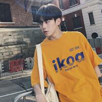 姜黄色T恤新款男士韩版英文字母风情侣装棉T恤女上衣服潮