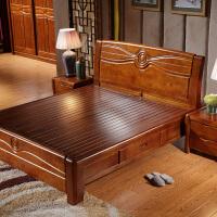 气动高箱储物实木床中式简约卧室家具1.8/1.5米木质双人床