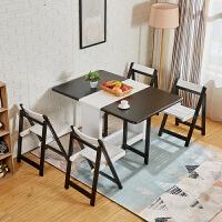 餐桌小户型实木折叠桌椅组合家用简约现代长方形多功能可移动饭桌 黑白色【一桌四椅】-橡胶木 【可收纳4个椅子