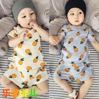 婴儿和尚服宝宝套装夏天纯棉短袖上衣短裤开档0-1岁新生儿系带服