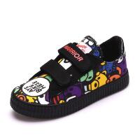 儿童帆布鞋春季男女童布鞋个性涂鸦潮鞋宝宝布鞋透气