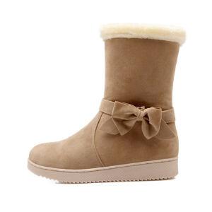 O'SHELL法国欧希尔新品冬季151-071韩版磨砂绒面平跟女士雪地靴