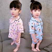 夏季女童睡衣家居服短袖3岁薄款儿童套装小孩宝宝衣服空调服