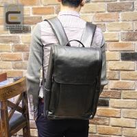 休闲双肩包男士背包韩版学生电脑书包大容量疯马皮旅行包潮流16寸 黑色 全场满2件送手包