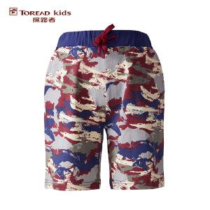 探路者TOREAD品牌童装 户外运动 男童风格系列满印针织五分裤