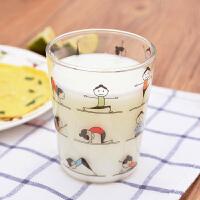 吉乐岛创意玻璃水杯 饮料果汁杯 keep fit玻璃牛奶杯早餐杯子茶杯