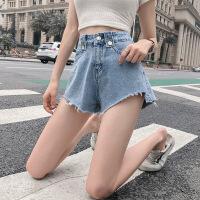 网红同款夏季新款韩版宽松显瘦高腰浅色学生直筒牛仔短裤女潮