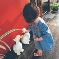 女宝宝连衣裙刺绣碎花儿童裙子春装2018新款韩式女童牛仔裙