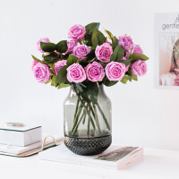手感保湿玫瑰花仿真花埃利多功能玻璃花瓶客厅餐桌装饰花艺摆件
