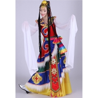 藏族舞蹈演出服装水袖女长裙藏族舞蹈表演服藏族舞蹈服装水袖新款 蓝色 图片色