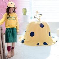 儿童帽子男女童户外时尚薄款遮阳防晒卡通公主可爱盆帽小孩渔夫帽