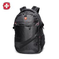 瑞士军刀双肩包男15寸笔记本背包情侣书包旅行包男女黑