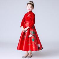 儿童长袖旗袍花童结婚礼服童装连衣裙表演服大红色女童蓬蓬公主裙