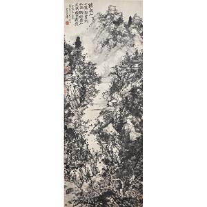 Z933  石涛(款)《深山访友图》(抄家退回、多位名人收藏印章,画心局部有破损)