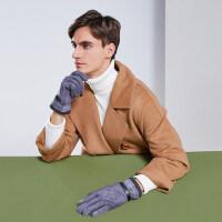 户外运动手套男士触屏韩版时尚麂皮绒保暖加绒加厚防寒骑行开车