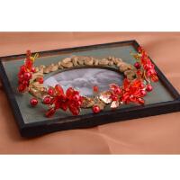 韩式手工花朵珍珠水钻新娘皇冠头饰红色结婚公主发饰婚庆礼服配饰 红色 均码
