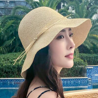 韩版大沿防晒海边沙滩大檐凉帽女草帽百搭遮阳帽可折叠太阳帽