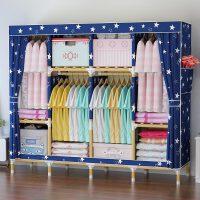 【满减优惠】简易衣柜实木质布艺家用简约现代宿舍柜子卧室牛津布衣柜组装衣橱
